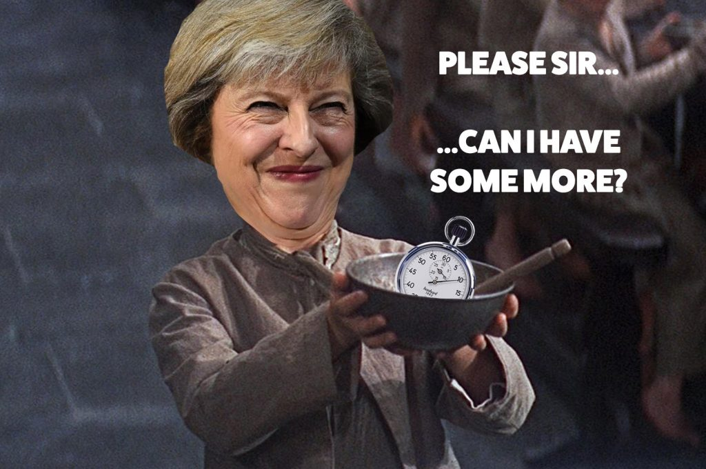 """Please sir, can I have some more (time)?""; Theresa May confirms delay to the 'meaningful vote' she wishes she'd never agreed to."