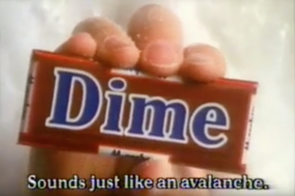 Dime Bar Avalanche Funny 80s Advert
