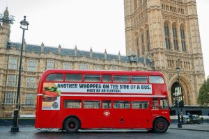 Funny Advert - Burger King Whopper Bus Westminster UK Brexit 2019