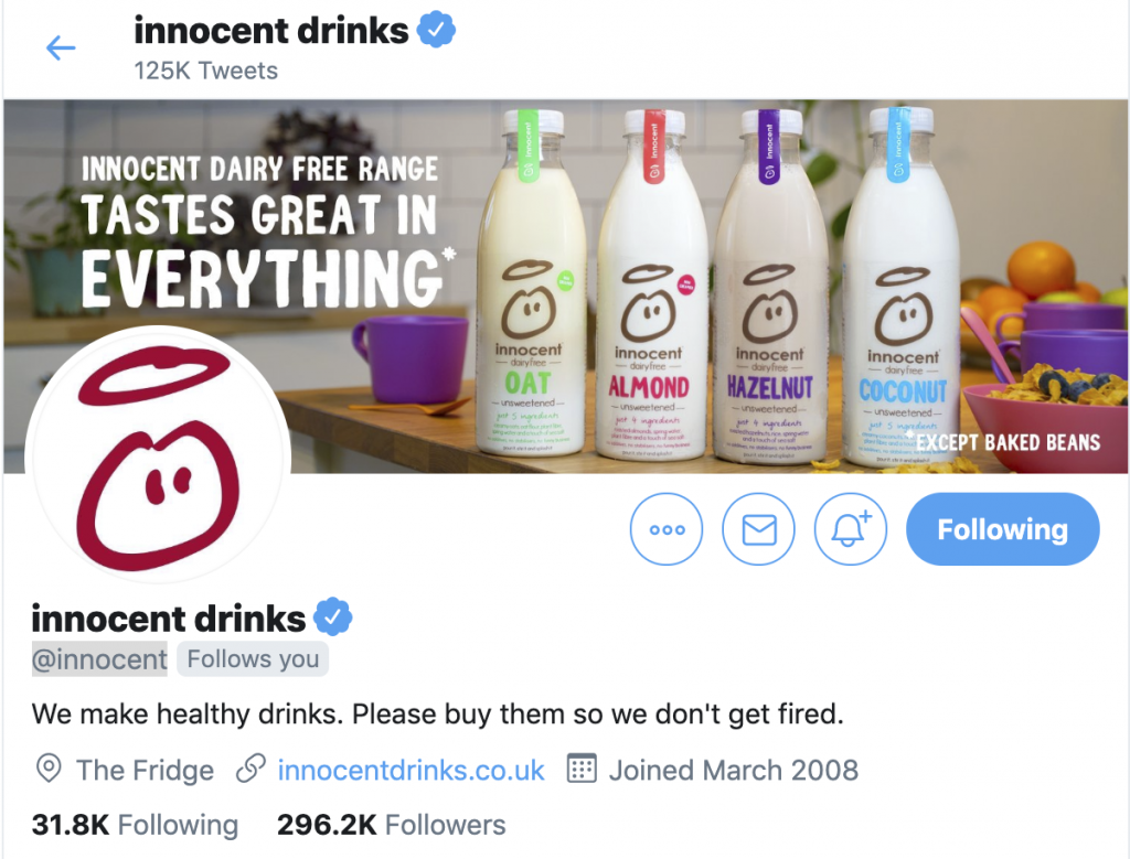 Innocent Drinks Funny Tweets and Twitter Banner Image