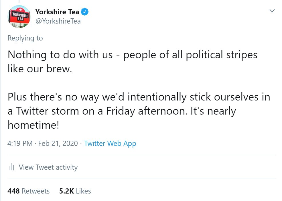 Yorkshire Tea proved that crisis management is easier with a good sense of humour