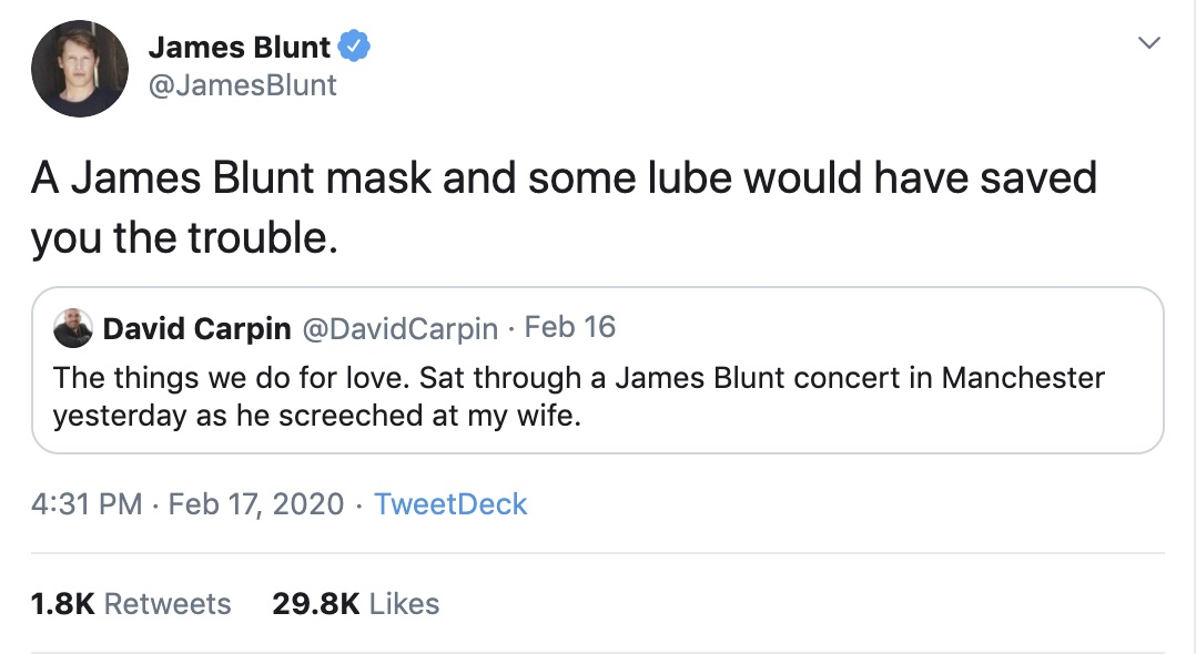 James Blunt has his self-deprecating humour on fleek