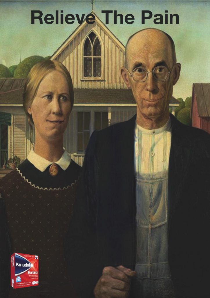 Panadol Ad Relieve The Pain Funny Ads Archive American Gothic