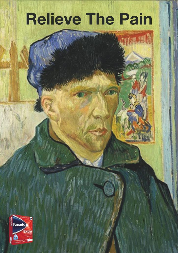 Panadol Ad Relieve The Pain Funny Ads Archive Self-Portrait With Bandaged Ear Vincent Van Gogh
