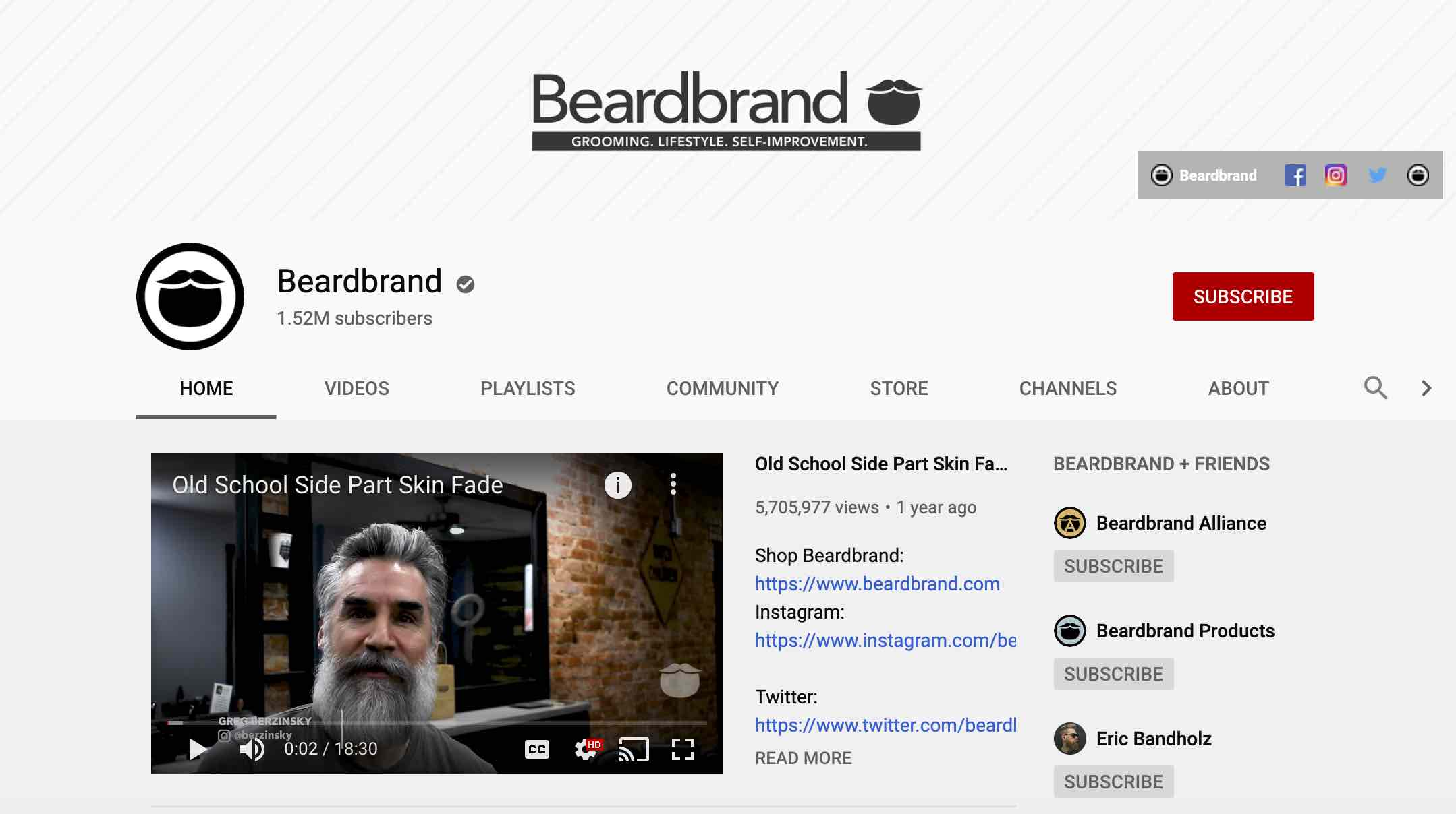 BeardBrand's YouTube profile, a great case study in social media and content marketing.