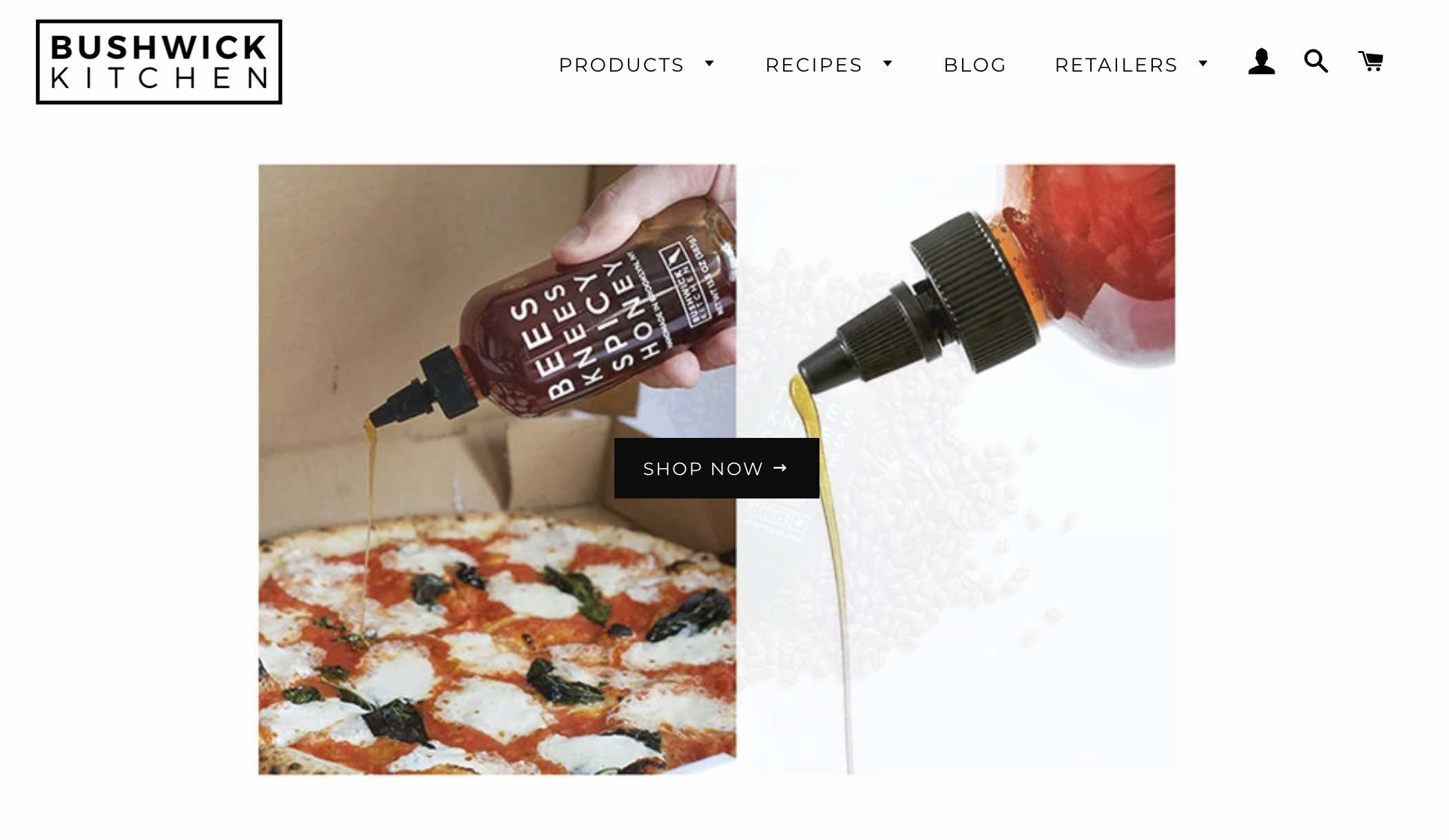 Commerce business Bushwick Kitchen's online store landing page.