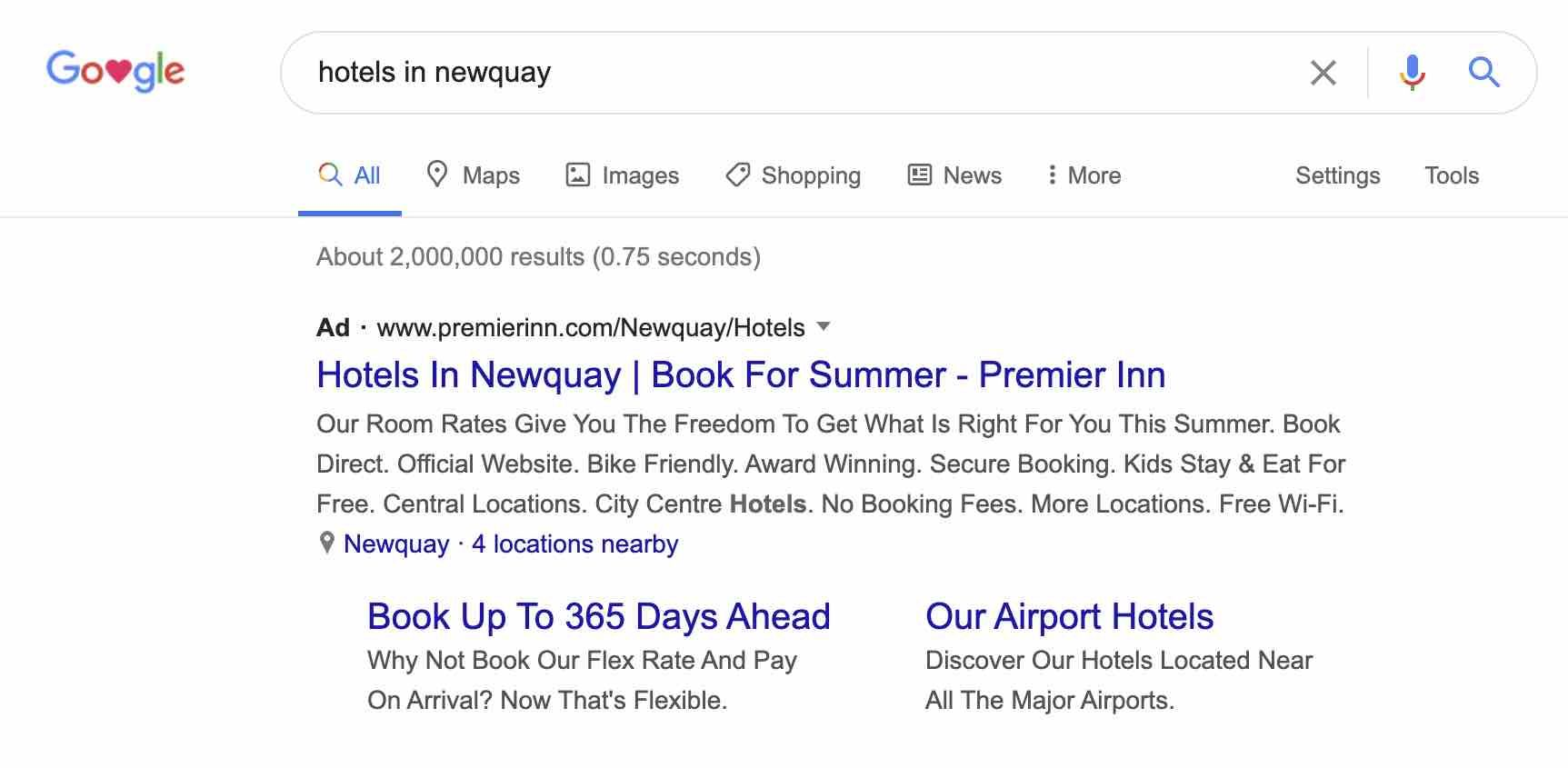 Paid advertising for hotels appears on Google.