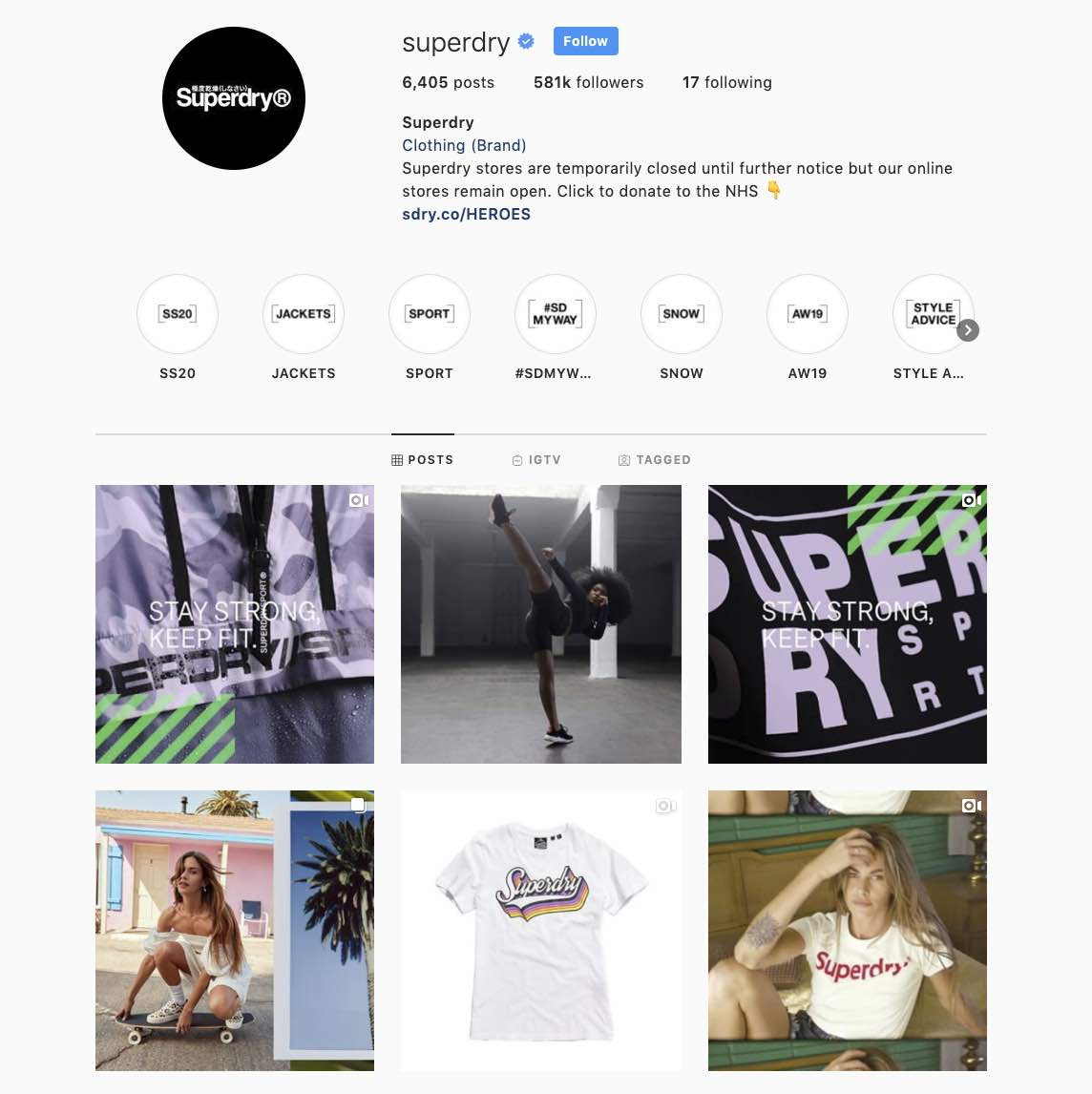 Clothing brand Superdry cultivates a cohesive brand image with visual digital marketing content on social media.