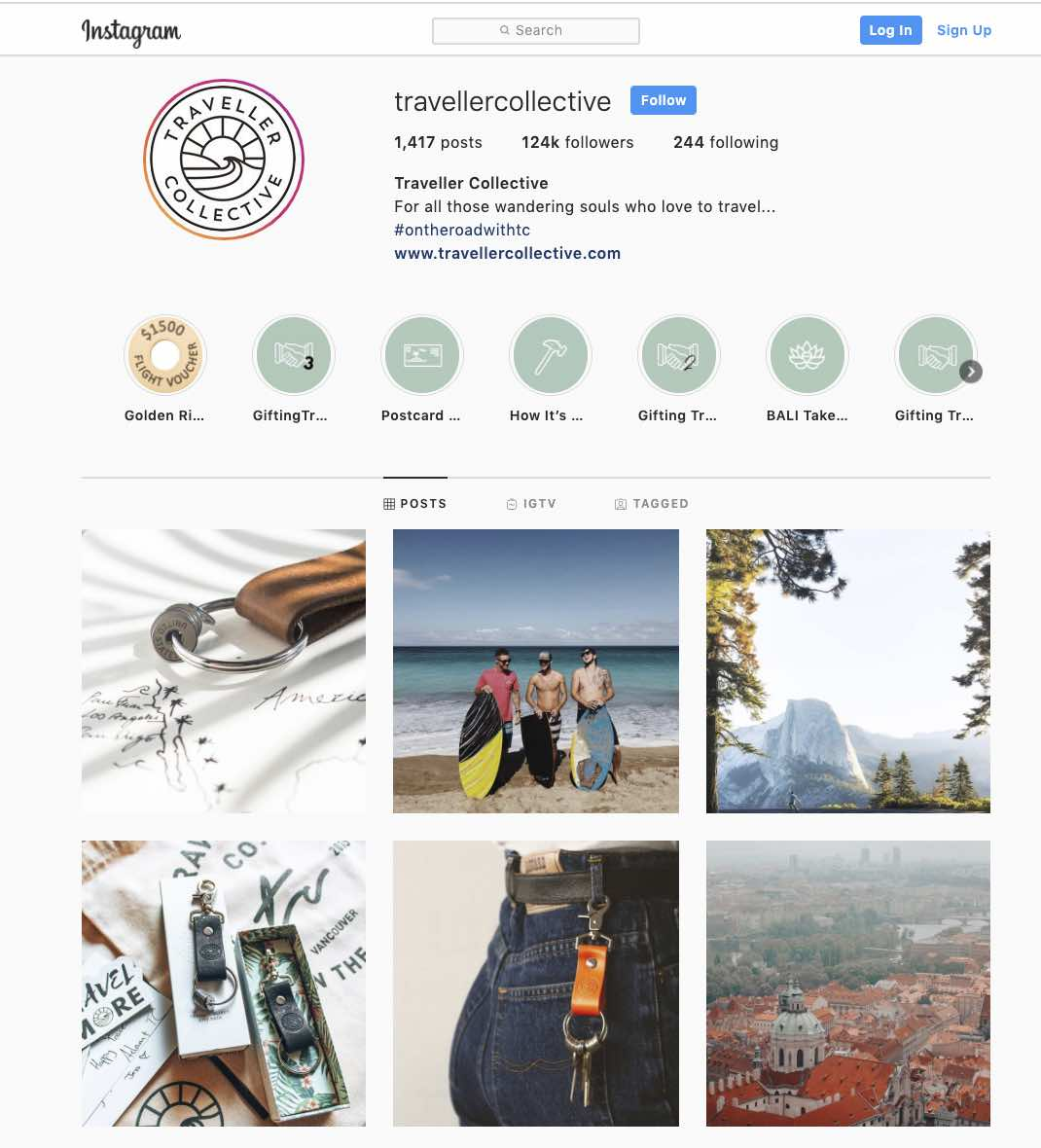 Instagram page for Traveller Collective, one of our success stories that uses social media to great effect.