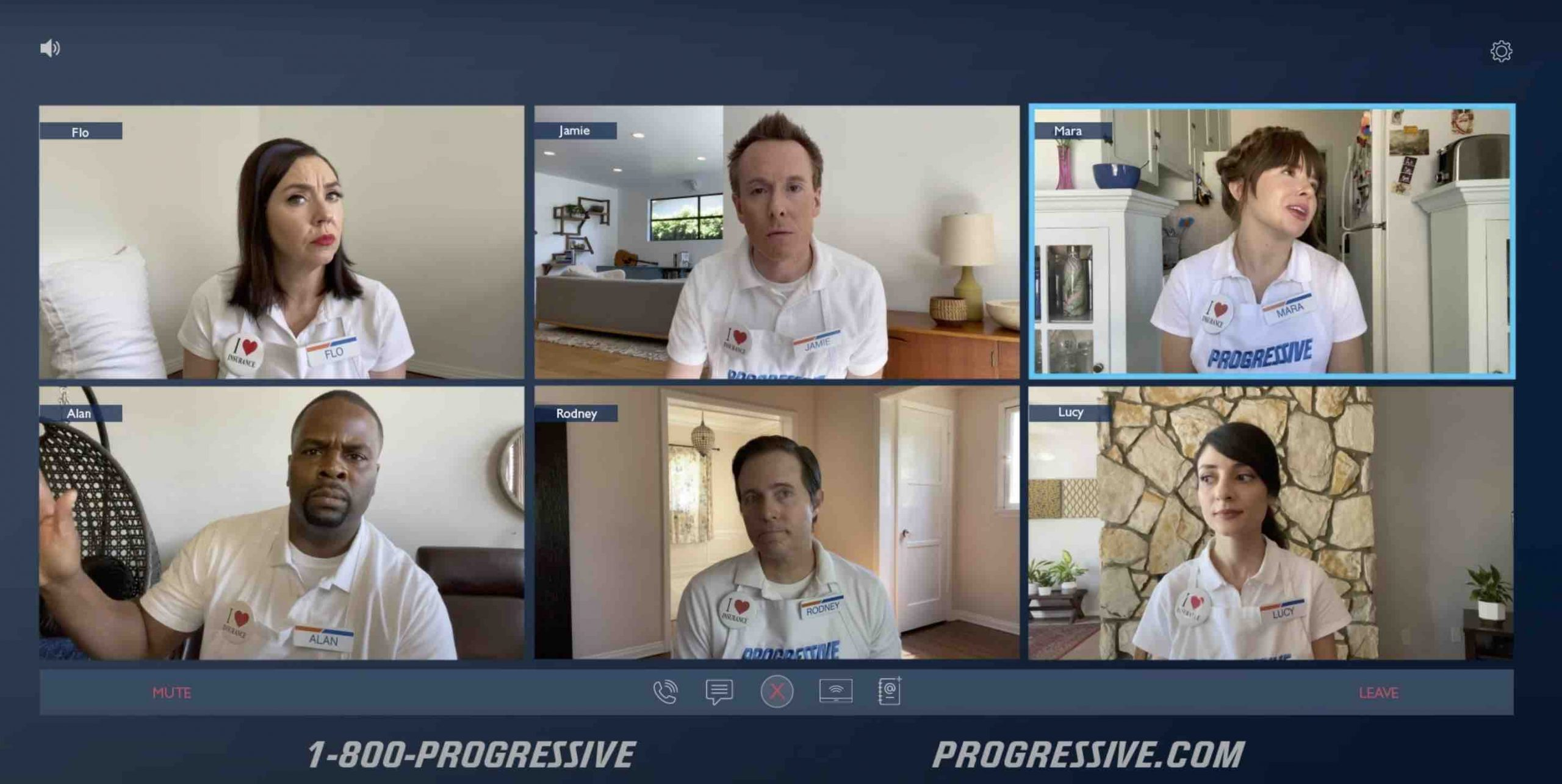 Progressive Insurance funny advert taking place on a video call during lockdown